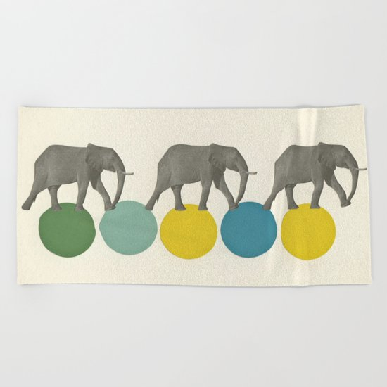 Travelling Elephants Beach Towel