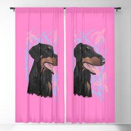 Happy doberman dog - Pink Blackout Curtain