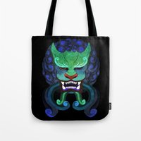 foo fighters Tote Bags featuring Foo dog by kitsunebis