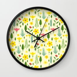 Tropical sunshine yellow pink green floral pattern Wall Clock