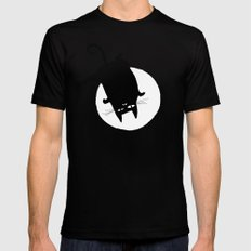 Ninja Cat Mens Fitted Tee SMALL Black