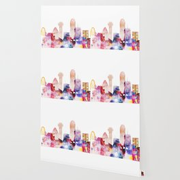 Watercolor Dallas skyline design Wallpaper