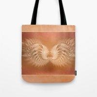 angel wings Tote Bags featuring Angel Wings by Selina Morgan
