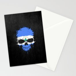 Flag of Nicaragua on a Chaotic Splatter Skull Stationery Cards