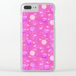 Lollipop And Candy Pink and Yellow Confection Clear iPhone Case