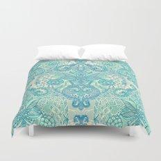 Botanical Geometry - nature pattern in blue, mint green & cream Duvet Cover