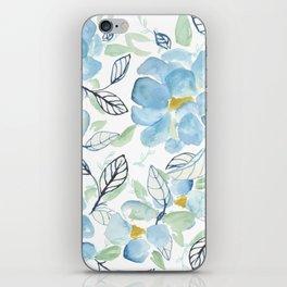 Blue flower garden watercolor iPhone Skin