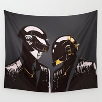 daft punk Wall Tapestries featuring DAFT PUNK by Gregory Casares