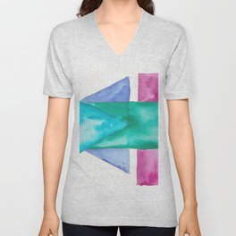 180819 Geometrical Watercolour 4| Colorful Abstract | Modern Watercolor Art Unisex V-Neck