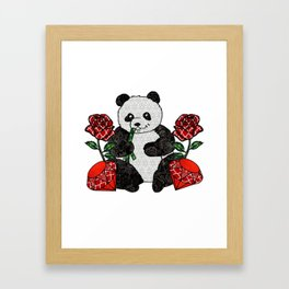 Panda with red rubies and red roses Framed Art Print