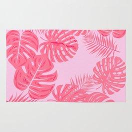 Tropical flamingo pink leaves Rug