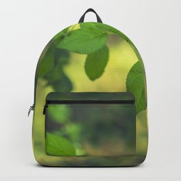 Green leaves and swirly bokeh effect Backpack