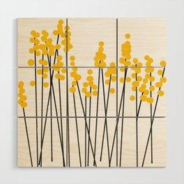 Hello Spring! Yellow/Black Retro Plants on White #decor #society6 #buyart Wood Wall Art