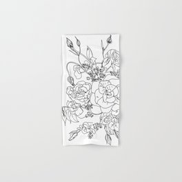 Floral Ink - Black & White Hand & Bath Towel