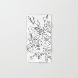 Floral Ink - Black & White Hand & Bath Towel