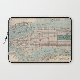 New York City, Manhattan, Vintage Map Laptop Sleeve