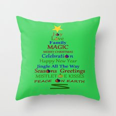Holiday Tree - Green Throw Pillow