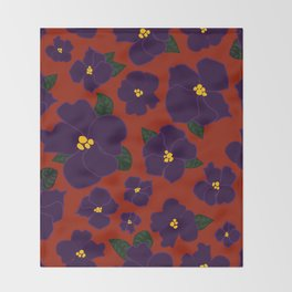 African Violets on red Throw Blanket