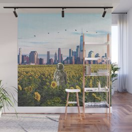 Astronaut in the Field-New York City Skyline Wall Mural