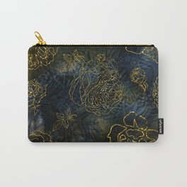 Big Roses In Gold On Indigo Background Carry-All Pouch