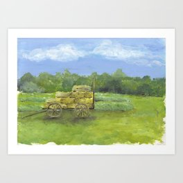 Hay Wagon in a Farm Field, Country Landscape Art Art Print