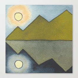 Mountain Reflection - Watercolor Painting Canvas Print