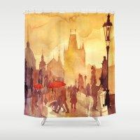 takmaj Shower Curtains featuring Charles Bridge by takmaj