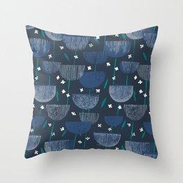 Botanical Block Print M+M Navy by Friztin Throw Pillow