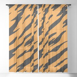 Bold and Beautiful Black and Orange Abstract Tiger Striped Pattern Sheer Curtain