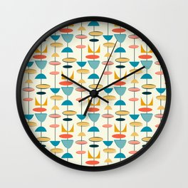 Mid century modern abstract shapes pattern Wall Clock