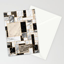 Random Pattern - Black and White Marble Stationery Cards
