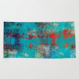 Aztec Turquoise Stone Abstract Texture Design Art Beach Towel