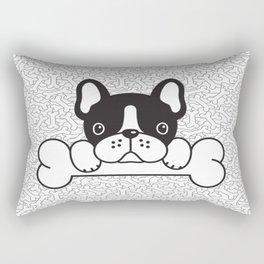 French Bulldog With Bone Rectangular Pillow