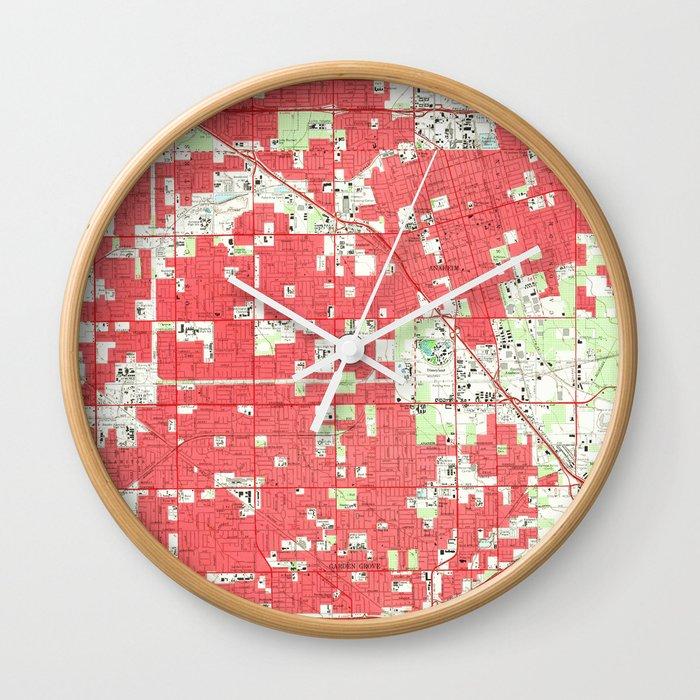 Vintage Anaheim & Garden Grove CA Map (1952) 3 Wall Clock by bravuramedia