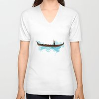 boat V-neck T-shirts featuring Boat by elyinspira