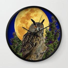 NIGHT OWL WITH FULL MOON Wall Clock