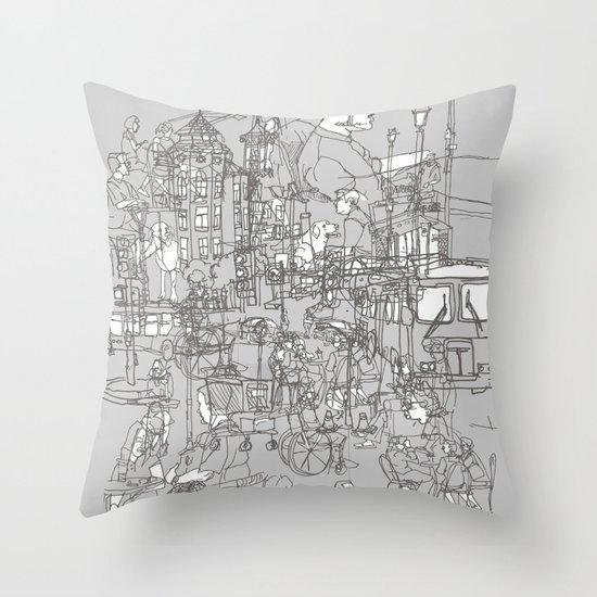 Interlocking Lives, Lines, and Transit Lanes Throw Pillow