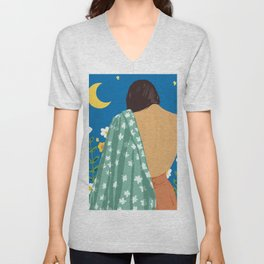 I Have Loved The Moon & The Stars Too Fondly To Be Fearful of The Night #illustration #painting Unisex V-Neck
