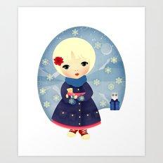 Rosy Snowflakes Art Print
