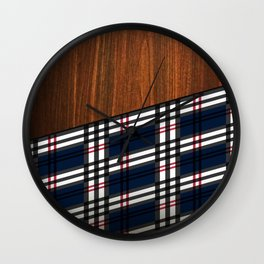 Wooden Scottish Tartan Wall Clock