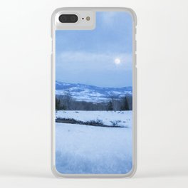 Full Moon Over a Field of Snow Clear iPhone Case