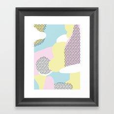Candy Pink Blue Blobs & Dots Pattern Framed Art Print