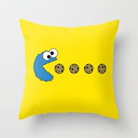 cookie monster Throw Pillows featuring Cookie monster Pacman by dutyfreak