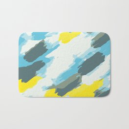 blue grey and yellow painting abstract background Bath Mat