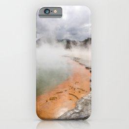 The boiling waters of champagne lake in Taupo new zealand and a incoming storm over the horizon iPhone Case