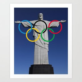 The Olympic Games symbol superimposed on the statue of Christ the Redeemer Art Print