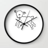 lamb Wall Clocks featuring lamb by Alexandr-Az