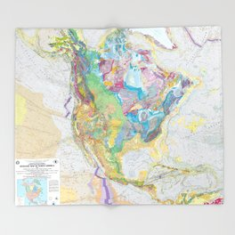 USGS Geological Map of North America Throw Blanket