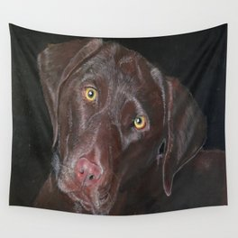 Inquisitive Chocolate Labrador Wall Tapestry