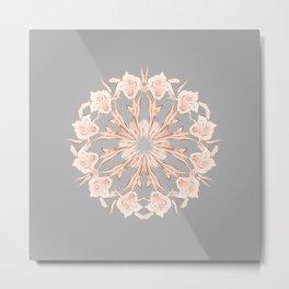 Rose Gold Gray Lilies Mandala Metal Print